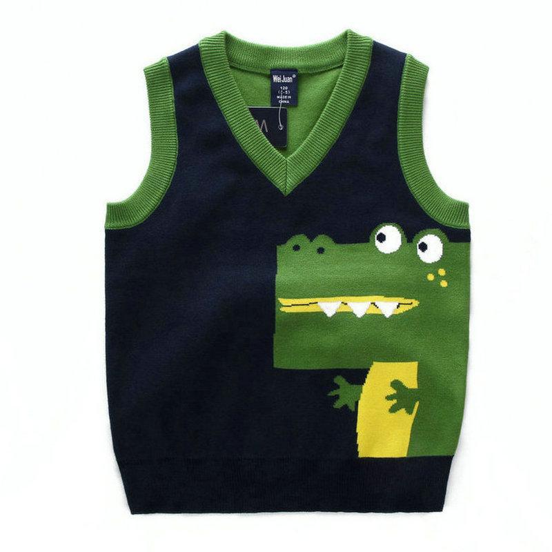 Детские мальчики пуловеров вязаного жилета пальто мальчики крючок Хлопок Крокодил жилет Дети Высочайшего качества ТОПОВ 2-7Years