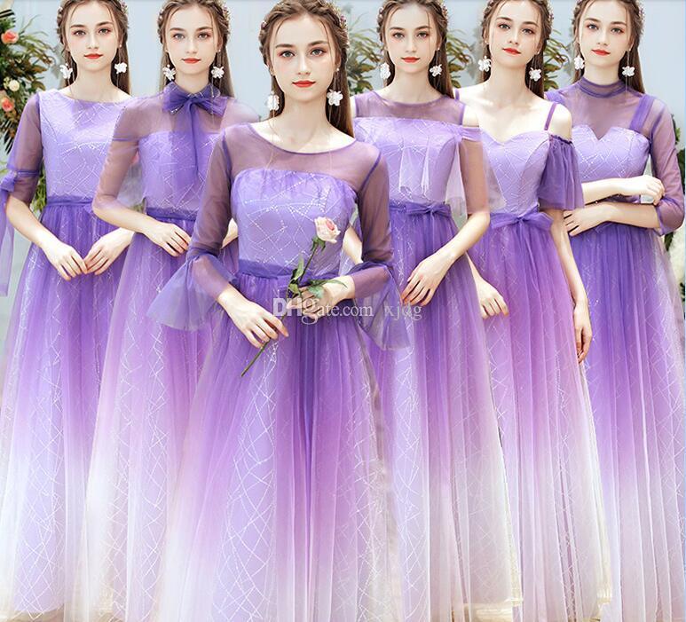 Custom made plus size Roxo querido 6 opções em camadas de uma linha do chão da dama de honra da dama de honra do convidado do baile de finalistas da festa vestido de baile à noite