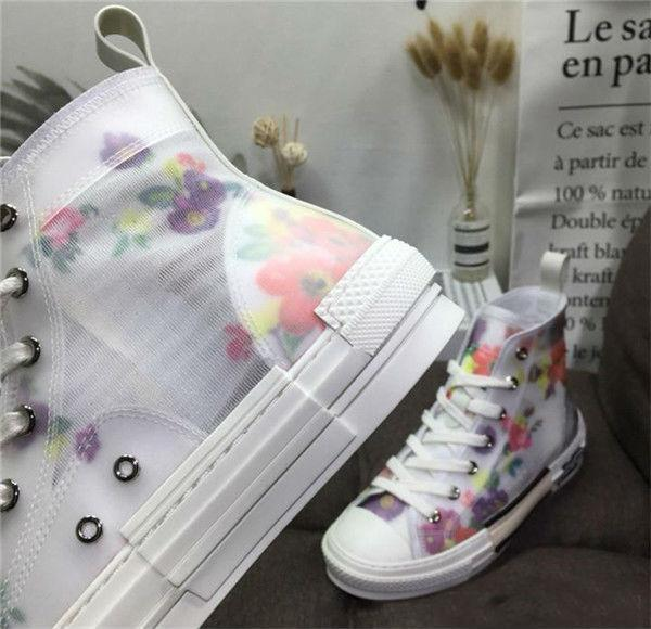 Wholesale 19SS Flowers Technical Canvas B23 B24 High Top Sneakers in Oblique Mens Brand B23 Designer Shoes Women Fashion Sneakers c15