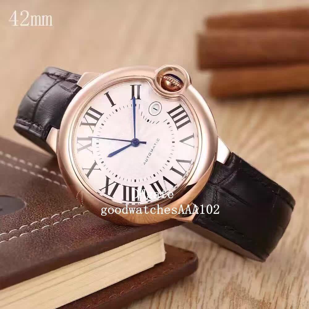 Série de montre Série Homme de luxe 42mm Homme Strap classique Montres en acier inoxydable Bandes de cuir automatique AJQCM