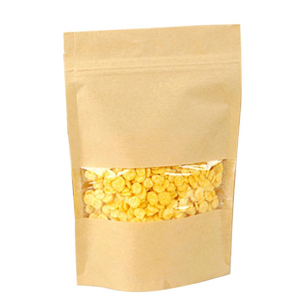 50PCS pacote Armazenamento de compras Partido Resealable Boutique saco de papel Prático Limpar janela reciclável