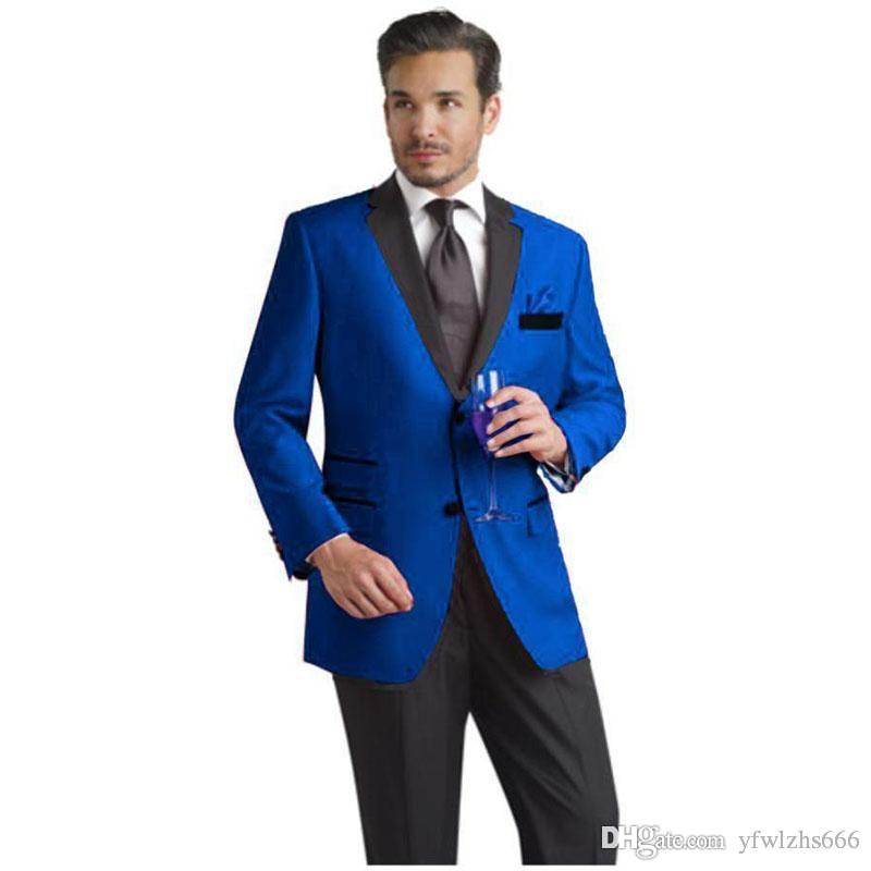 Royal Blue Wedding Tuxedos Slim Fit Suits For Men Groomsmen Suit Two Pieces Cheap Prom Formal Suits (Jacket+Pants+Tie) 130