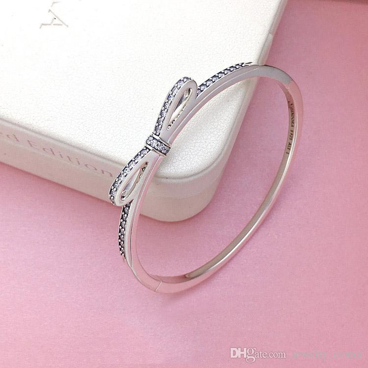 Womens 925 Sterling Silver CZ Diamond Bow Bangle Bracelets Original logo box for Pandora Real Silver Bangle Women Gifts Gift Jewelry