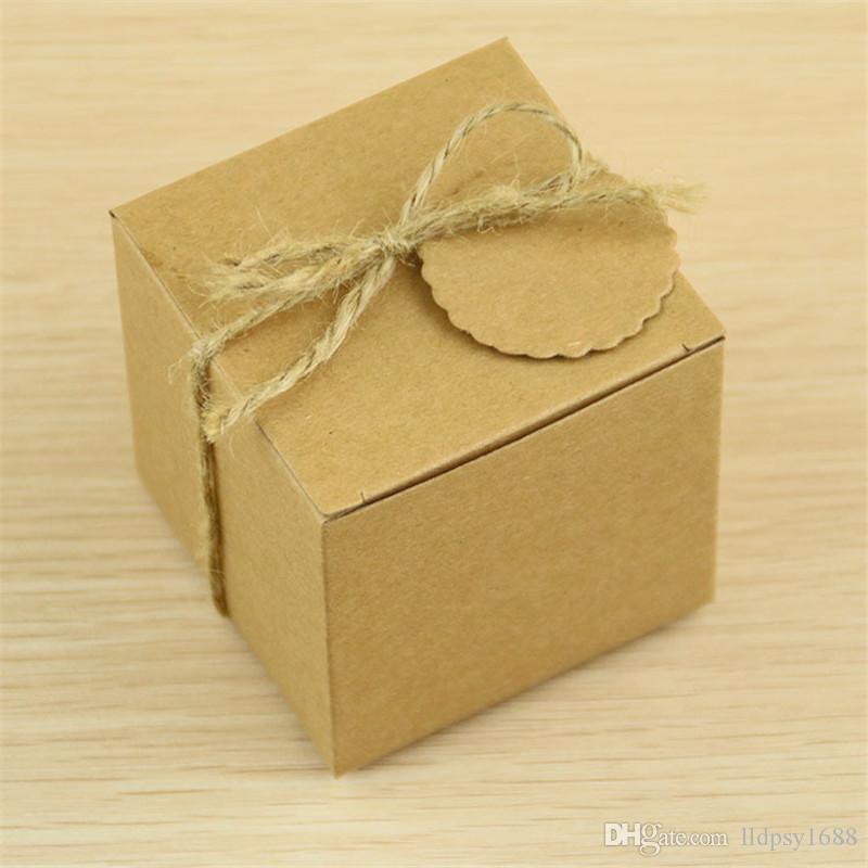 Kare Kraft Kağıt Kutusu Düğün Hediye Etiketleri Ile Şeker Kutuları Şekeri Düğün Dekorasyon Vintage Bebek Duş Doğum Günü Partisi Iyilik Ve hediyeler