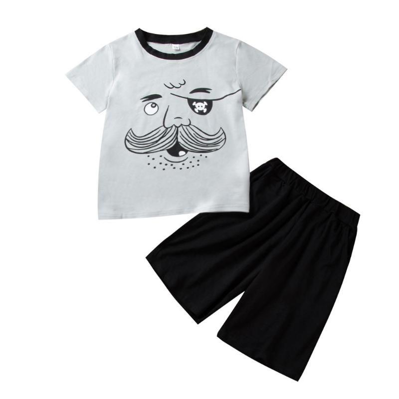 KANCOOLD çocuk oğlan kısa kollu karikatür tek gözlü sakal karakter tişört + düz renk beş puanlık pantolon takım elbise