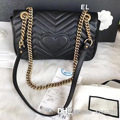 High Quality Women's Classic Marmont Leather Messenger Bags Heart Pattern Women Crossbody Bags Gold Chains Purse Shoulers Bags
