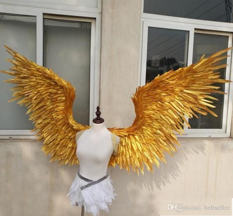 جديد! الأزياء الجميلة الذهب أجنحة الملاك ريشة أجنحة 185 سنتيمتر خرافية للرقص التصوير العرض حفل زفاف زينة