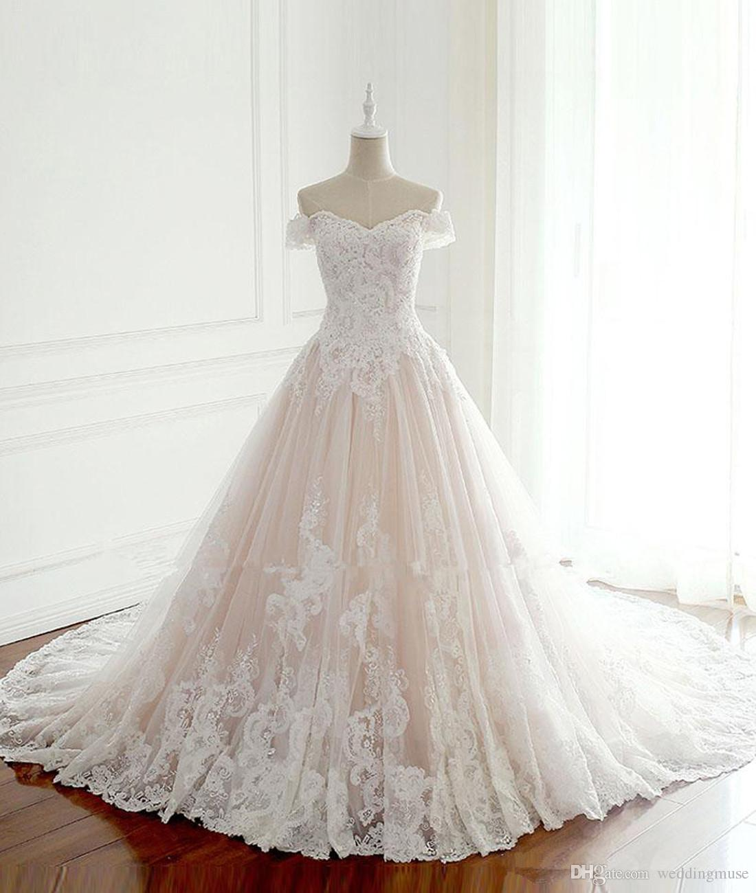 새로운 2020 공주 웨딩 드레스 터키 화이트 아플리케 핑크 새틴 내부 우아한 신부 드레스 플러스 사이즈