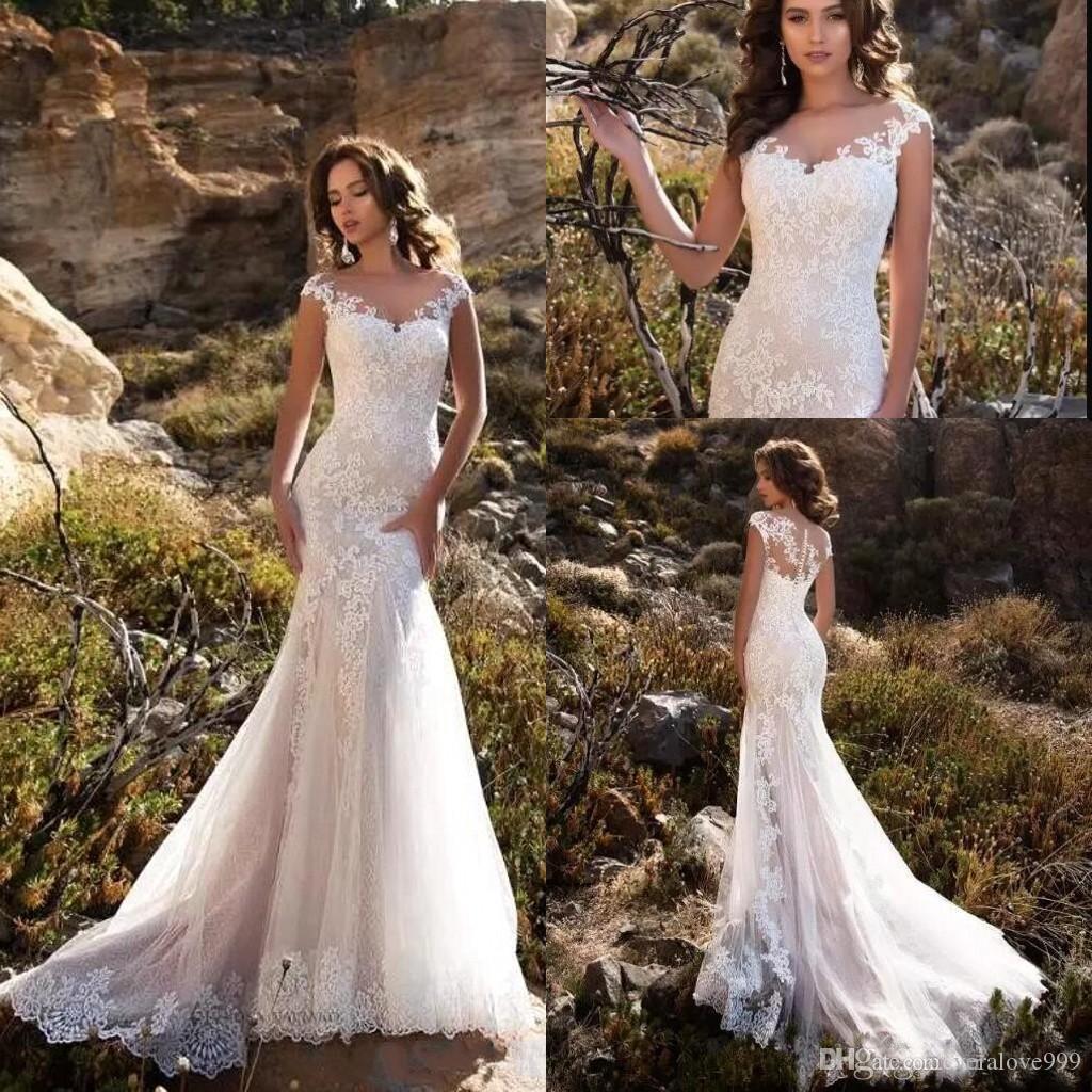 Sheer Neck Mermaid Wedding Dresses 2019 Lace Appliques Cap Sleeves Cover Button Vintage Bride Dresses Long Wedding Dresses