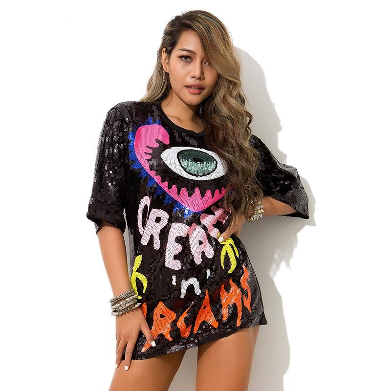 2019 Summer Sequins 레터 티셔츠 여성 힙합 댄스 복 티셔츠 눈과 하트 패턴 탑들 하라주쿠 티셔츠 특대 사이즈