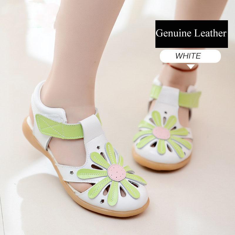 Девушки из натуральной кожи сандалии принцессы Сладкий Ветер цветов Украшение из кожи Обувь Летняя Baby Foot-Wrap Защита Сандалии