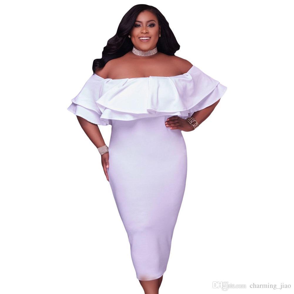 Nova mulher gorda tamanho grande tubo top palavra gola manga curta cor sólida gordura mulher vestido profissional