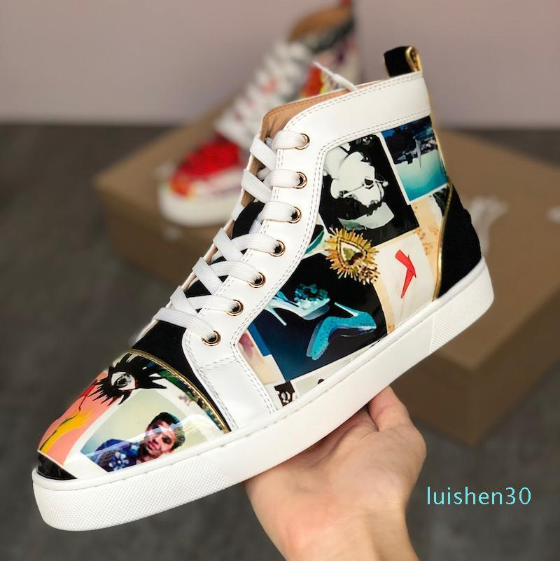 Red Bottom Junior Spikes Men Flat shoes high top Designs Sneaker multi-colored patent Luxury Party shoes high top Lace-up Casual Shoe AL30