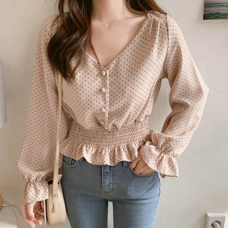 V-neck Vintage alargamento da luva Polka Dot Mulheres Blusa Camisas elegantes botões frontais Magro Da cintura para Ruffles Feminino Blusa Blusas 2019