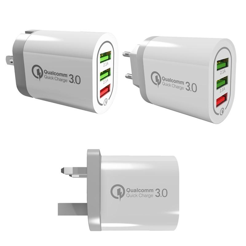 Quick Charging EU UK Uk Pluge QC 3.0 USB Wall Charger 18w 3 Ports For Smartphone QC3. 0 Fast Rapid Home Adapter