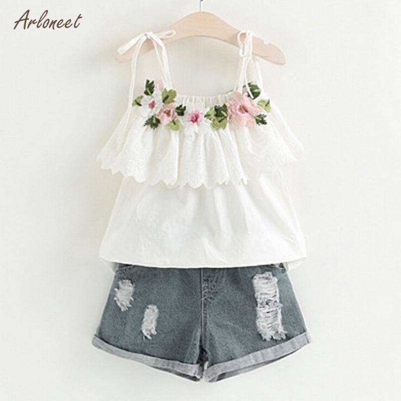 여자 옷 2020 여름 새로운 여자 의류 패션 꽃 자수 디자인 T 셔츠 + 데님 반바지 2 개 어린이 의류 세트
