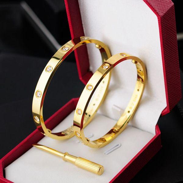 Tornillo de acero de titanio Destornillador Pulseras brazaletes para las mujeres plata oro rosa amor pulsera Hombres con diez piedras de la CZ brazalete Pareja Joyería caliente