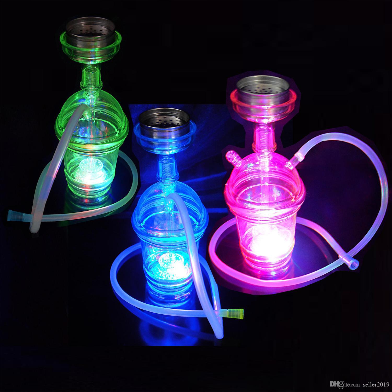 Hookah VAPOR LED with blue green pink lighting Complete Set 1 Hose Hookahs shisha Glass Vase for smoking