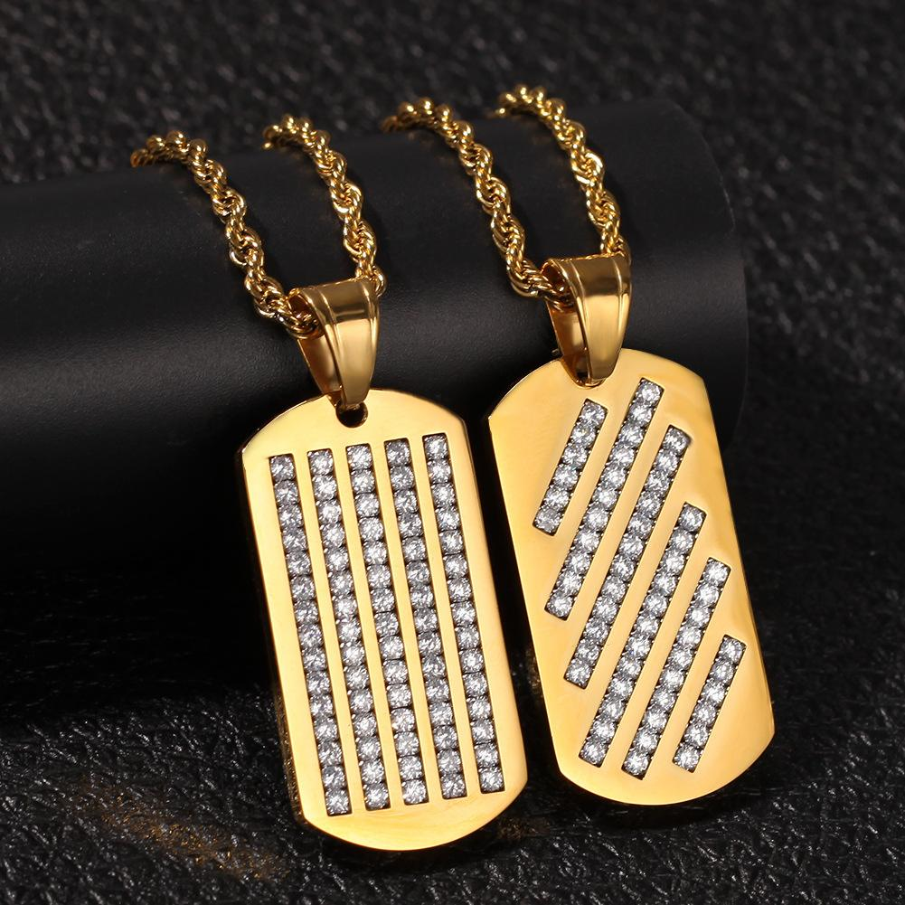 2 Styles Gold Plated Stainless Steel Diamond Hip Hop Dog Tags Army Tag Pendant Necklace Chain for Men Bijoux Mens Chains Jewelry for Sale