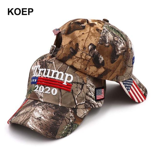 Nouveau Donald Trump 2020 Cap Camouflage USA Drapeau Casquettes de base-ball Keep America Great Encore une fois Snapback Hat président broderie en gros
