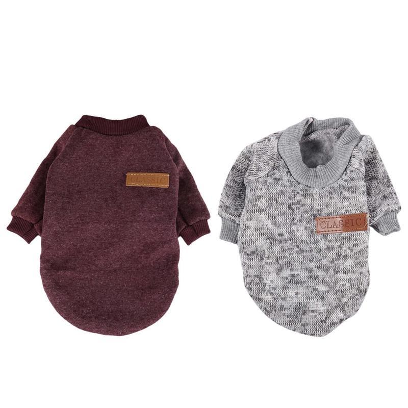 Quente 2pcs Winter Classic Jacket roupas para cachorros gato filhote de cachorro Moda suave camisola Roupa para Chihuahua Yorkie Xs - Grey Rose Red