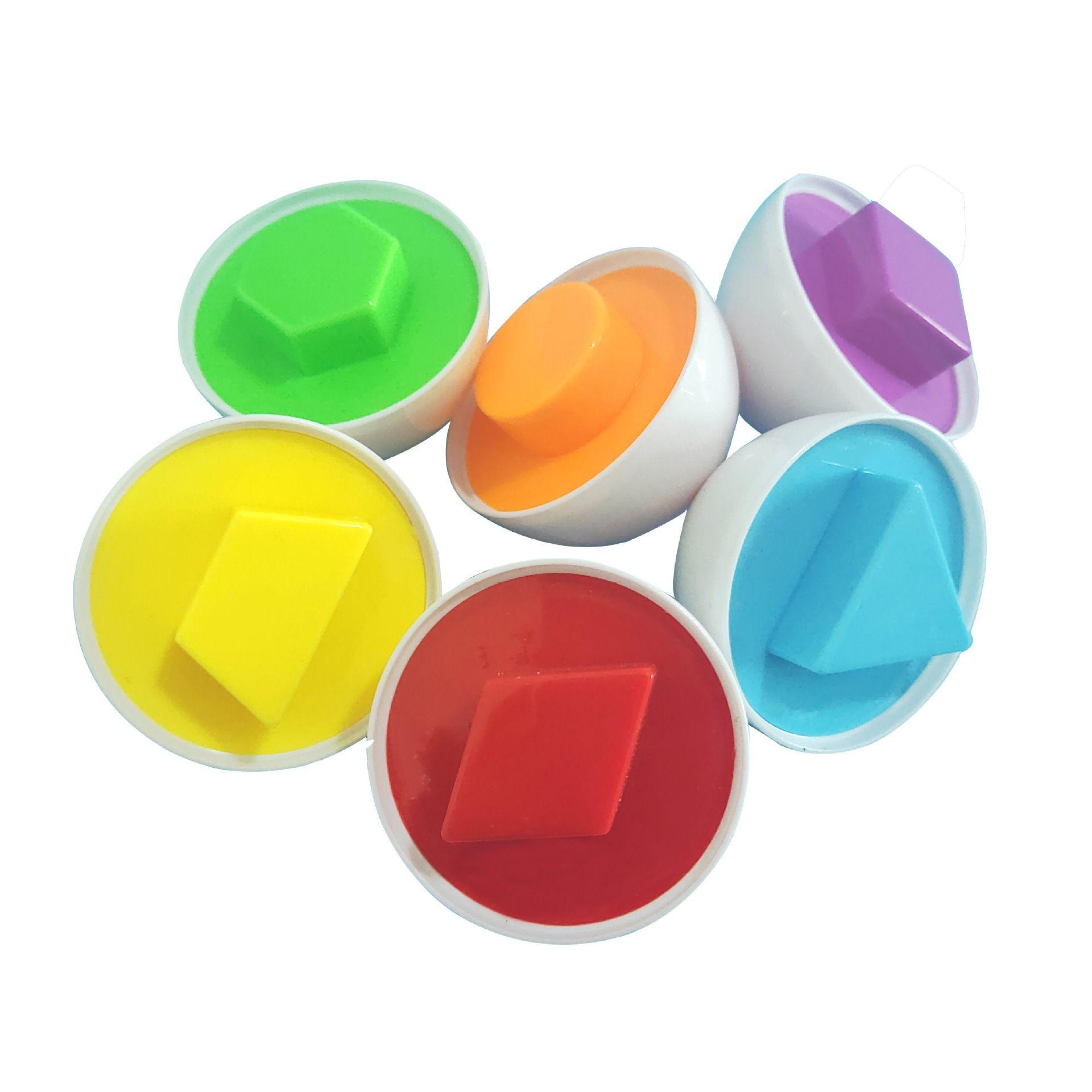 6 pcs cores aleatórias Formas de Puzzle brinquedos para enigma Aprender matemática 3D Jogo Para Crianças Brinquedos Educativos Forma Mixed Eggs