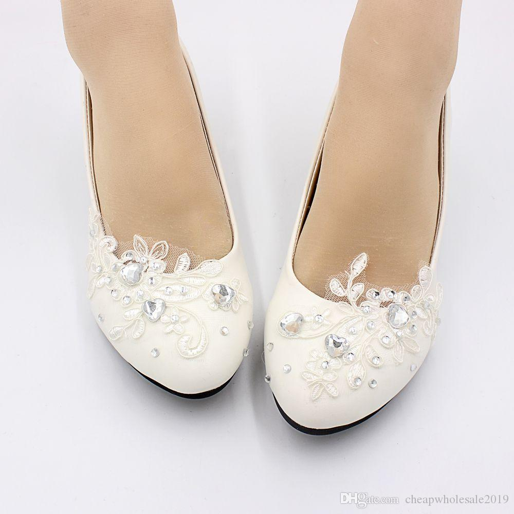 Scarpe Sposa The Woman In White.3cm Low Small Heel White Lace Wedding Shoes Bride Handmade Silver