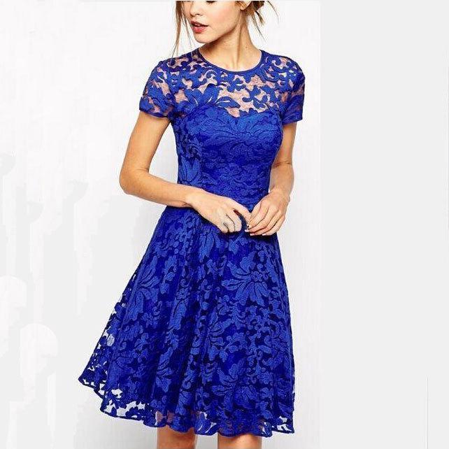 Plus Size Dress Fashion Women Elegant Sweet Hallow Out Lace Dress Sexy Party Princess Slim Summer Dresses Vestidos Red Blue
