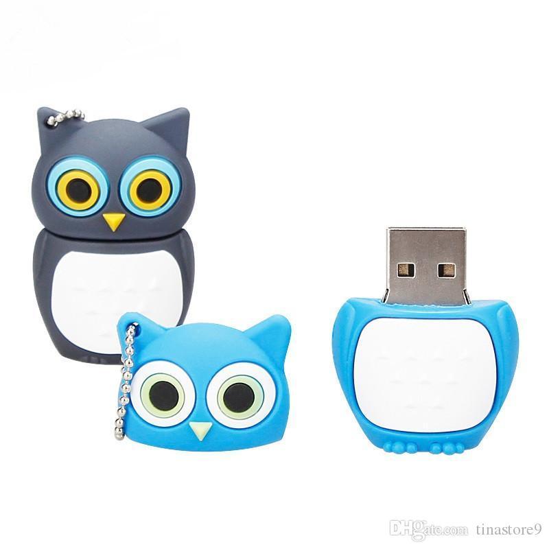 귀여운 동물 만화 올빼미 USB 2.0 4기가바이트 8기가바이트 16기가바이트 32기가바이트 펜 드라이브 USB 메모리 창조적 pendrive 휴일 선물 티나 64기가바이트 USB 플래시 드라이브