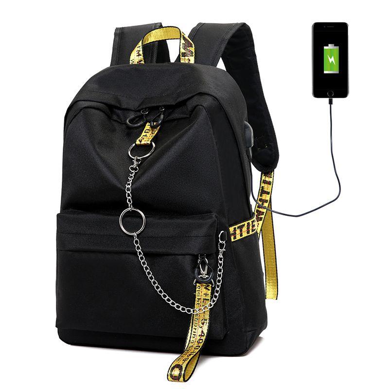 Mulheres Backpack USB Carga Moda Cartas Imprimir Saco de escola Adolescente Meninas Fitas Female Fashion Breve Backpack
