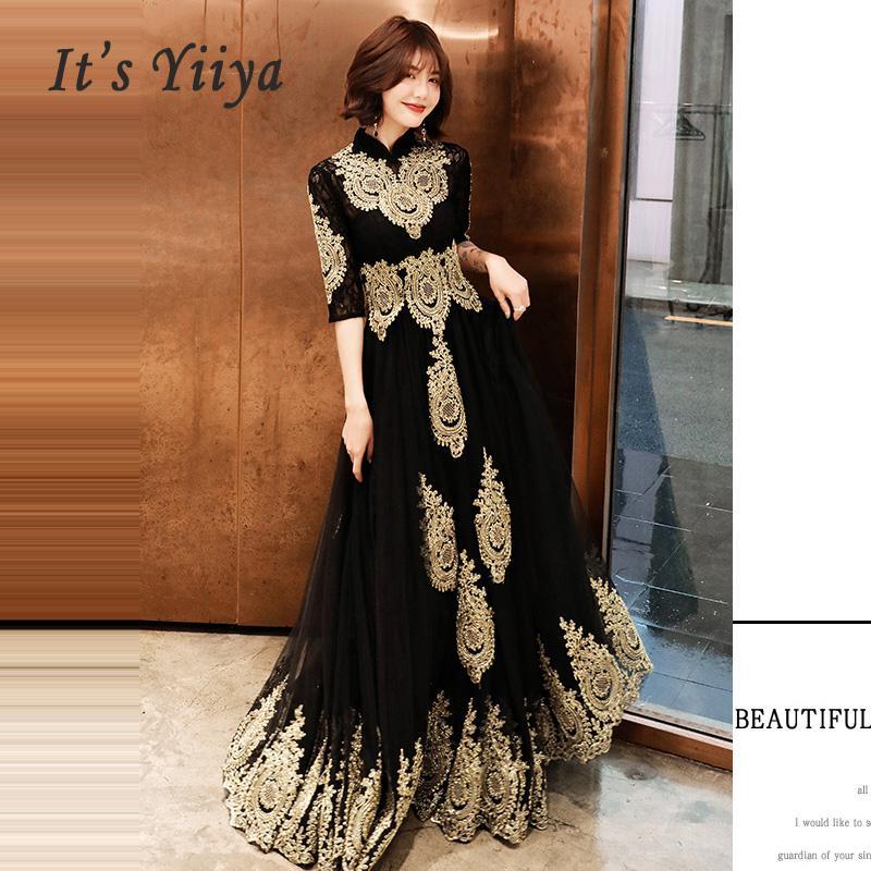 이브닝 드레스 하이트 칼라 긴 플러스 사이즈 우아한 2,019 섹시한 중공 여성 파티 드레스 하프 슬리브 로브 댄스 파티 E536