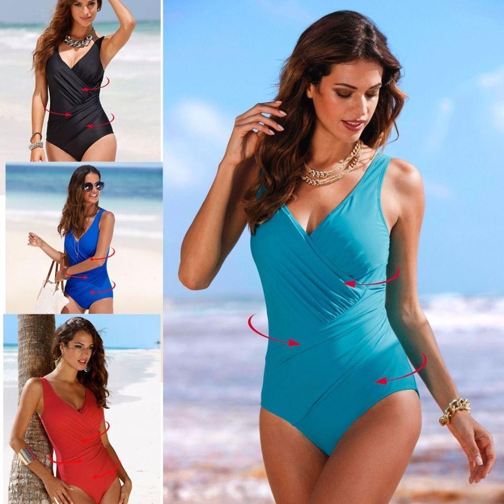 2019 Sexy Women Strap One-piece Suit Plus Size M - 5xl Thong Bikini Push Up Monokini Swimsuit Bather Suit Swimwear Swimming Suit Y19072701