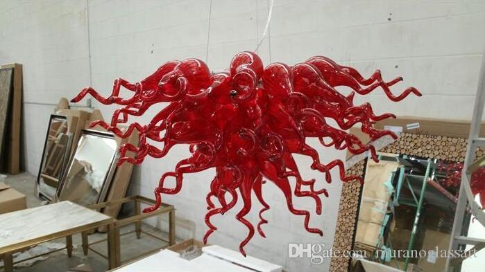China preço barato Excelente Qualidade Red vidro fundido Chandelier LED Light Modern mão soprado vidro Murano lustre de cristal