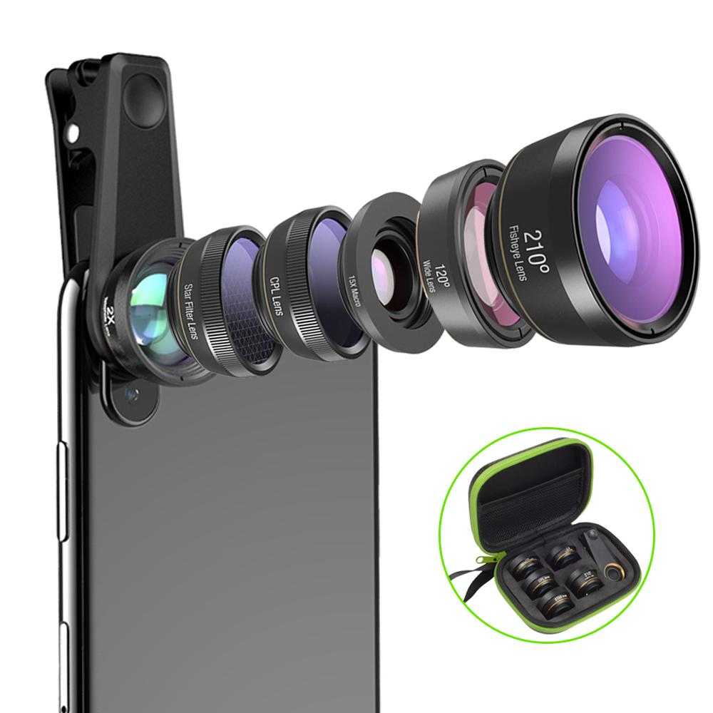 wholesale Universal 6 in 1 Phone Camera Lens Fish Eye Lens Wide Angle macro Lens CPL/Star Filter 2X tele for iphone Samsung HTC LG