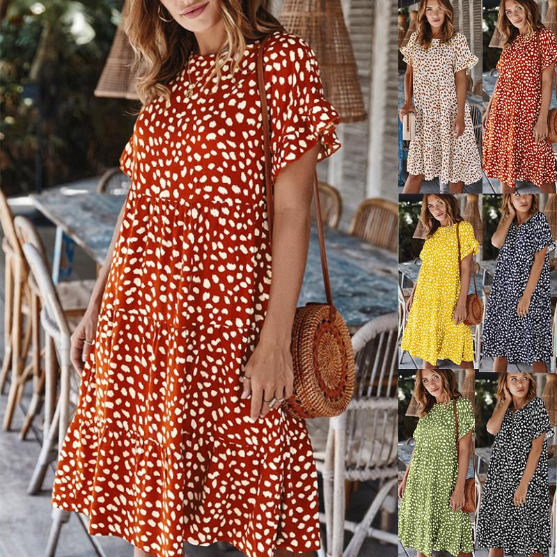 새로운 섹시한 폴카 여성 도트 짧은 드레스 인과 느슨한 표범 인쇄 여름 드레스 O 목 짧은 소매 주름 휴가 해변 드레스
