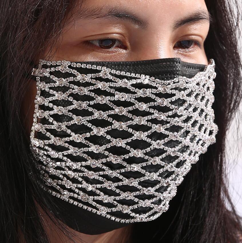 La maschera nuova maglia elastica strass Jewlery per la dichiarazione Donne ridimensionabile Bling Bling Maschera Decoration Charm Jewellery