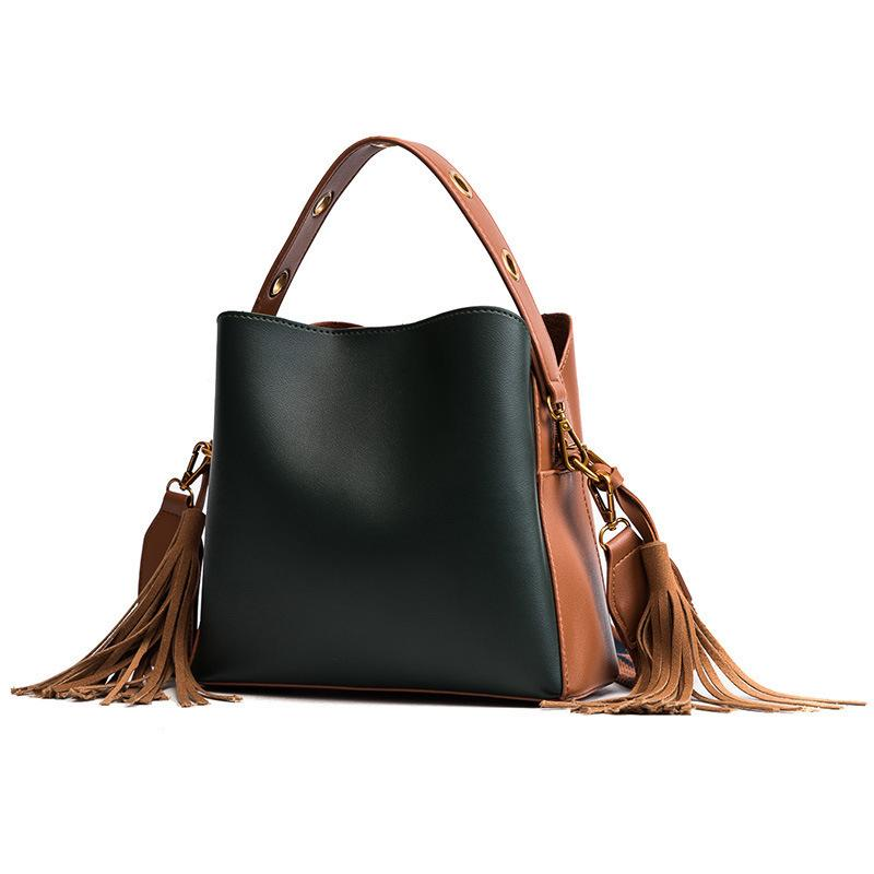 Free2019 Woman Bag The Tide Barrel Width Straps Single Shoulder Portable Bale Tassels All-match Cable Package
