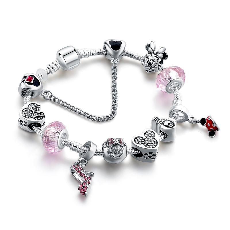 YADA INS Pink High heels& Beads Charm Bracelets&Bangles For girls Bracelets Charm Crystal Jewelry Bracelet BT200278