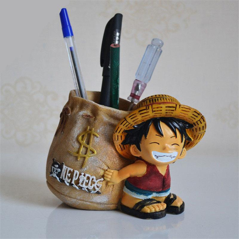 Anime One Piece Luffy resin Action Figure Office Desk Pen Holder Collectible decoration action figurines Boy Toys creative gifts Y200421