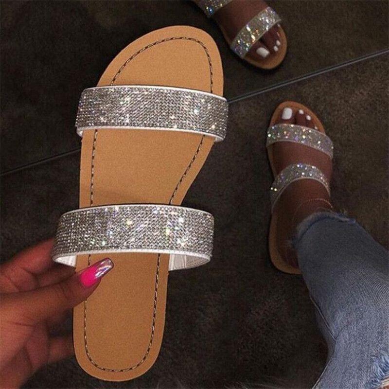 Sapatos de Verão Mulher Sandals For Women 2020 Bling Plano Rhinestone Ladies Beach Sandles Designer Luxo Sandálias Mujer Sandels