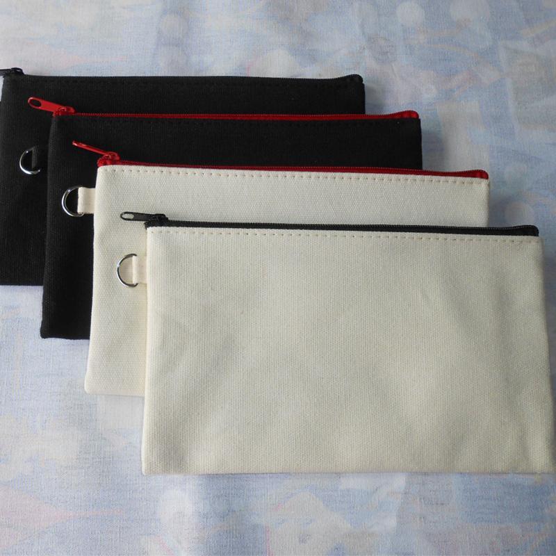 Filles pur coton toile Cosmétique Sacs DIY Femmes Blanc Plaine zipper strap Maquillage Sac Téléphone Embrayage Sac cadeau Organisateur Cas Crayon pochettes
