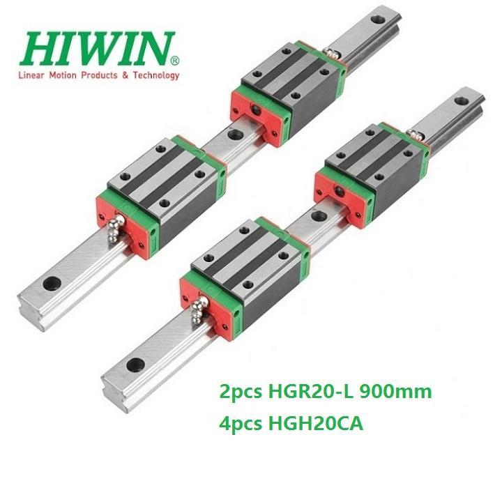 2 pz Originale Nuovo HIWIN HGR20 - 900mm guida lineare / ferroviario + 4 pz HGH20CA lineare blocchi stretti per parti del router di cnc