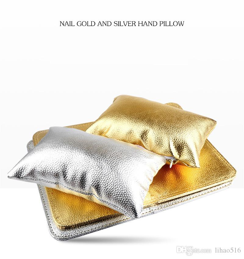 Set Nail Art Soft Arm Cushion Hand Rests Pillow Hand Holder Cushion Table Mat Salon Manicure Pad Foldable Washable Gold Silver LH316