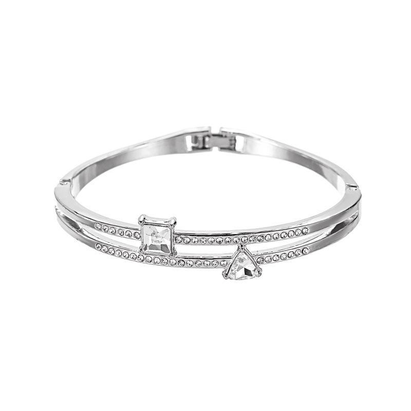 Gioielli doppio cristallo braccialetto classico signore in oro rosa del quadrato di colore del triangolo del braccialetto di modo regalo di San Valentino Day per la fidanzata