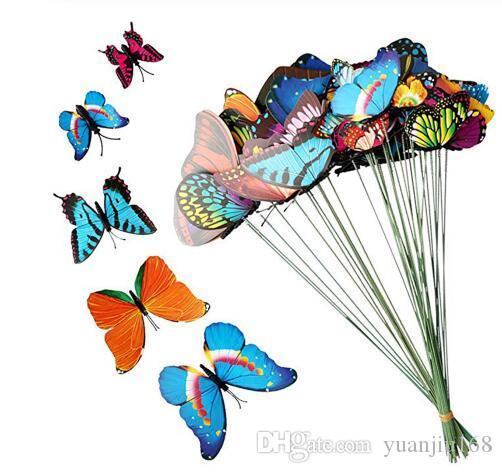 7 centímetros Artificial Butterfly Garden Decorações Simulação borboleta Stakes Quintal Planta Lawn Decor Falso Butterefly aleatória GB960