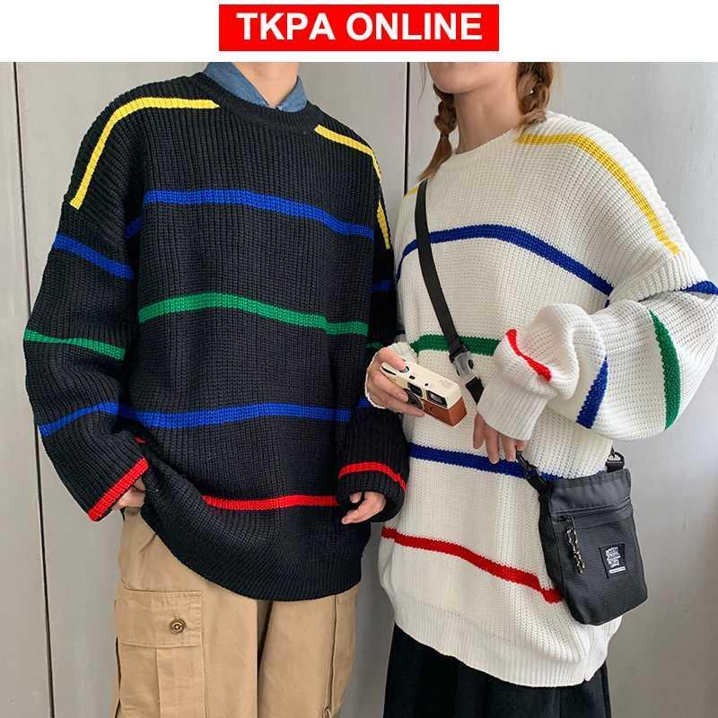 Los hombres japoneses de Calle de gran tamaño suéter 2020 modas para hombre Harajuku rayas del arco iris suéter de Corea del suéter Ropa