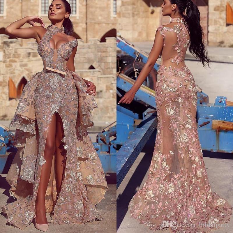Partido de los vestidos de cuello alto sin respaldo árabe vestidos de noche floral Apliques delantero de Split Prom Vestidos Vestido Vestidos Red Carpet