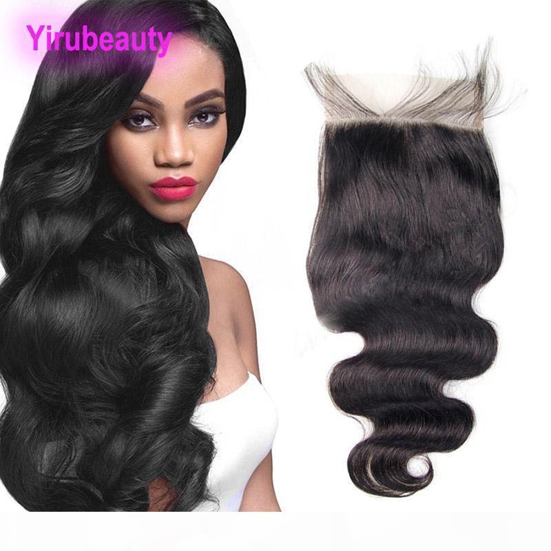 Перуанское закрытие шнурка человеческих волос 6X6 с волосами младенца 8-20inch естественная объемная Волна цвета 6*6 закрытие шнурка с волосами младенца