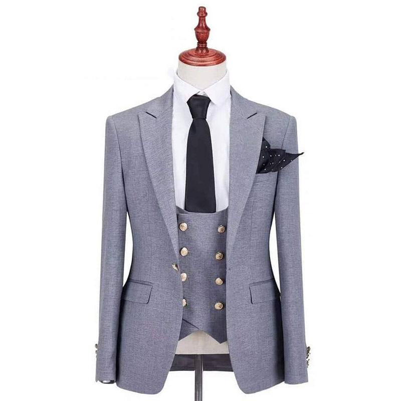 3 Pieces Double Breasted Evening Party Grey Men Suits for Wedding Groom Tuxedos Peaked Lapel Groomsmen Blazers (Jacket+Pants+Vest )