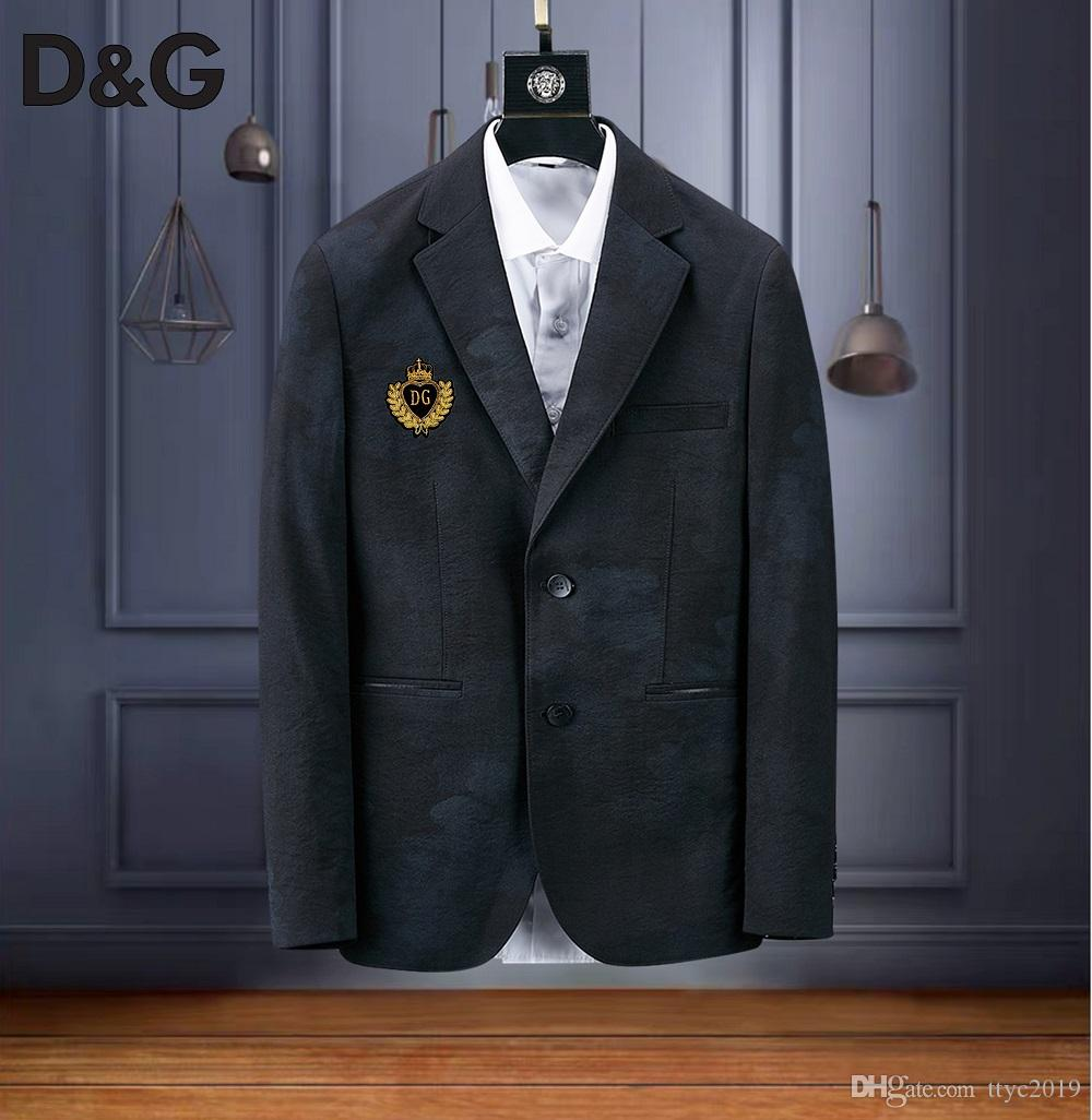 Мужские костюмы 2019 DG Весна Классический бренд пиджак Мужчины Одной кнопки Повседневная Slim Fit деловой костюм Куртка Серые мужские пиджаки больших размеров